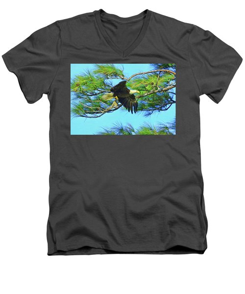Men's V-Neck T-Shirt featuring the painting Eagle Series Food by Deborah Benoit