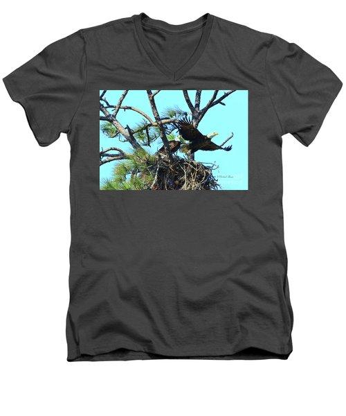 Men's V-Neck T-Shirt featuring the photograph Eagle Series The Nest by Deborah Benoit
