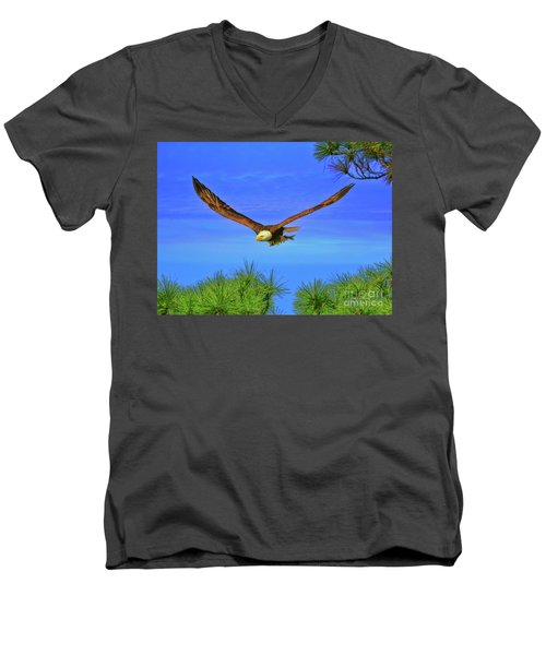Men's V-Neck T-Shirt featuring the photograph Eagle Series Through The Trees by Deborah Benoit