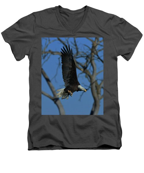 Eagle With Fish Men's V-Neck T-Shirt