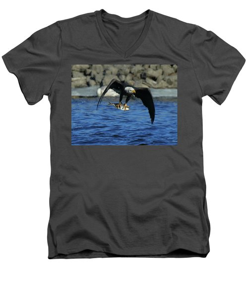 Men's V-Neck T-Shirt featuring the photograph Eagle With Fish Flying by Coby Cooper