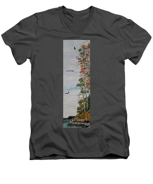 Men's V-Neck T-Shirt featuring the painting Eagles Point by Marilyn  McNish