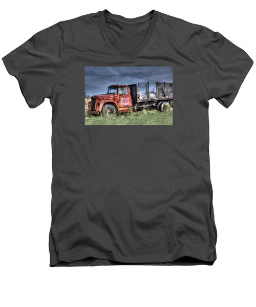 Men's V-Neck T-Shirt featuring the photograph Earl Latsha Lumber Company Version 2  by Shelley Neff