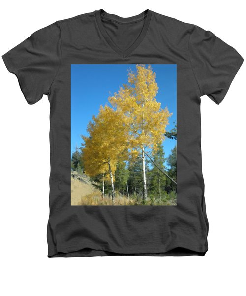 Men's V-Neck T-Shirt featuring the photograph Early Autumn Aspens by Gary Baird
