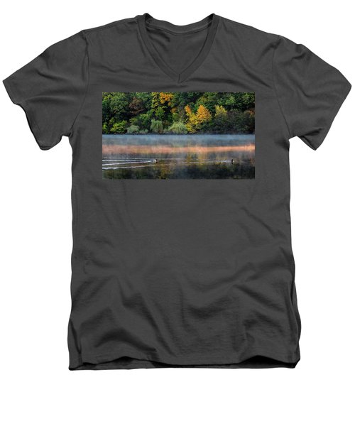 Early Autumn Morning At Longfellow Pond Men's V-Neck T-Shirt