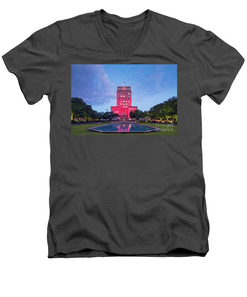 Early Dawn Architectural Photograph Of Houston City Hall And Hermann Square - Downtown Houston Texas Men's V-Neck T-Shirt