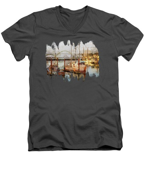 Early Light On Yaquina Bay Men's V-Neck T-Shirt