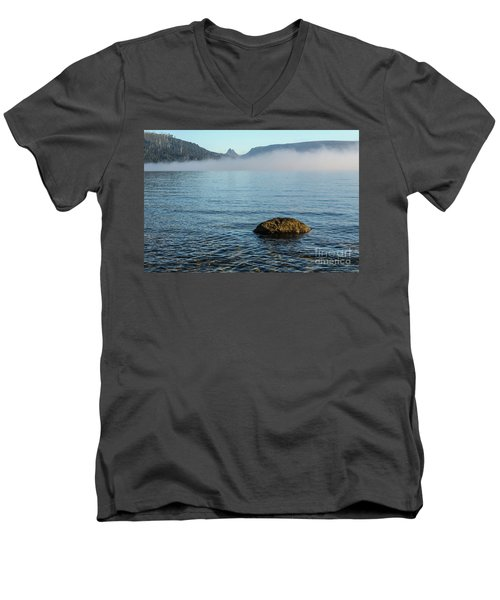Men's V-Neck T-Shirt featuring the photograph Early Morning At Lake St Clair by Werner Padarin