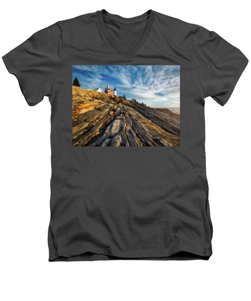 Men's V-Neck T-Shirt featuring the photograph Early Morning At Pemaquid Point by Darren White