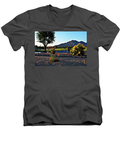 Early Morning At The Dunes Golf Course - La Quinta Men's V-Neck T-Shirt