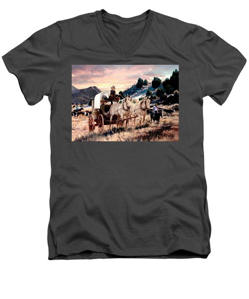 Early Morning Drive Men's V-Neck T-Shirt by Ron Chambers