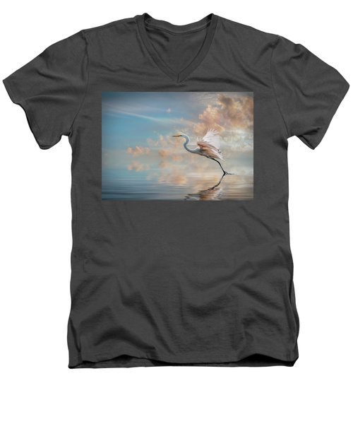 Early Morning Egret Men's V-Neck T-Shirt