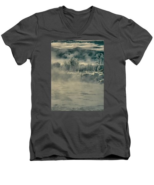Men's V-Neck T-Shirt featuring the photograph Early Morning Frost On The River by Don Schwartz