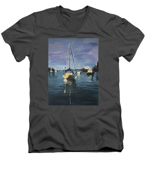 Men's V-Neck T-Shirt featuring the painting Early Morning by Jane Croteau