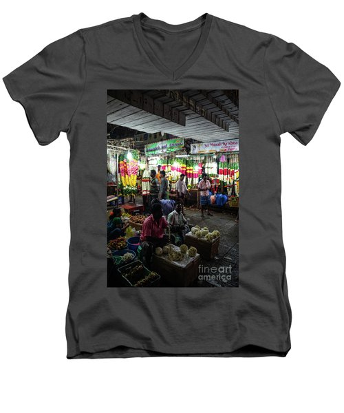 Men's V-Neck T-Shirt featuring the photograph Early Morning Koyambedu Flower Market India by Mike Reid