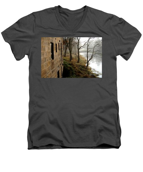 Men's V-Neck T-Shirt featuring the photograph Early Morning Mist  by Paula Guttilla