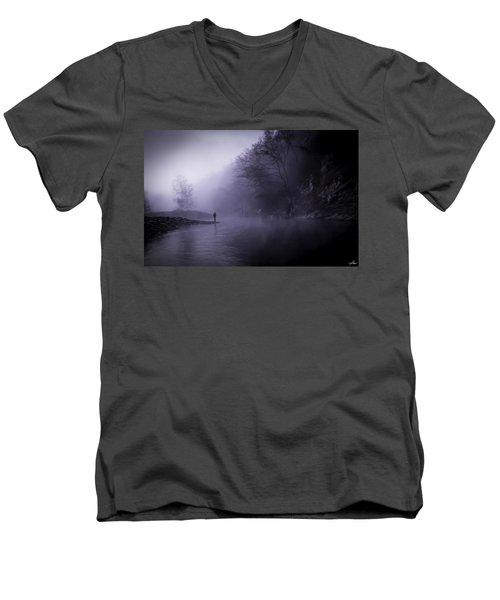 Early Morning On The Lower Mountain Fork River Men's V-Neck T-Shirt