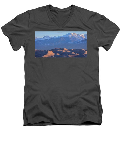 Early Morning Sand Dunes And Snow Covered Peaks Men's V-Neck T-Shirt by James BO Insogna