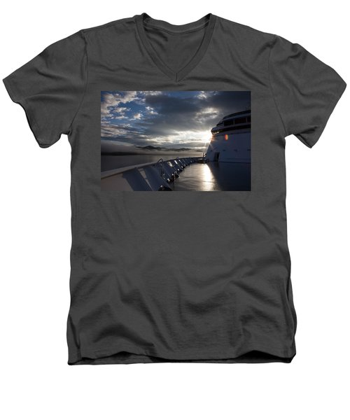 Early Morning Travel To Alaska Men's V-Neck T-Shirt by Yvette Van Teeffelen