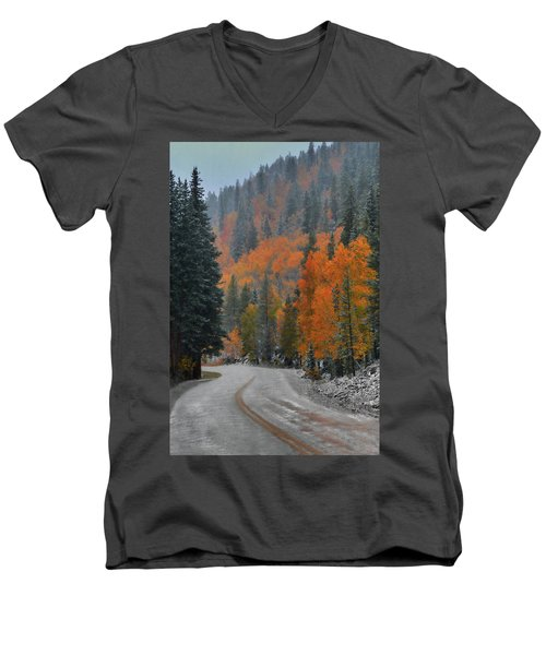 Men's V-Neck T-Shirt featuring the photograph Early Snow by Dana Sohr