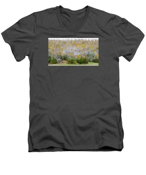 Men's V-Neck T-Shirt featuring the photograph Early Snow Fall by Wanda Krack