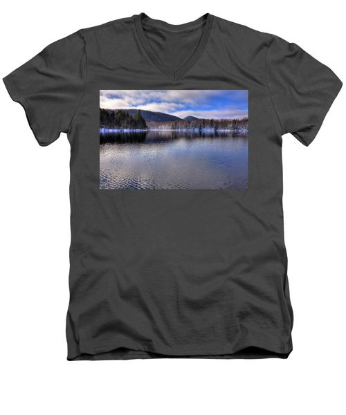 Early Snow On West Lake Men's V-Neck T-Shirt by David Patterson
