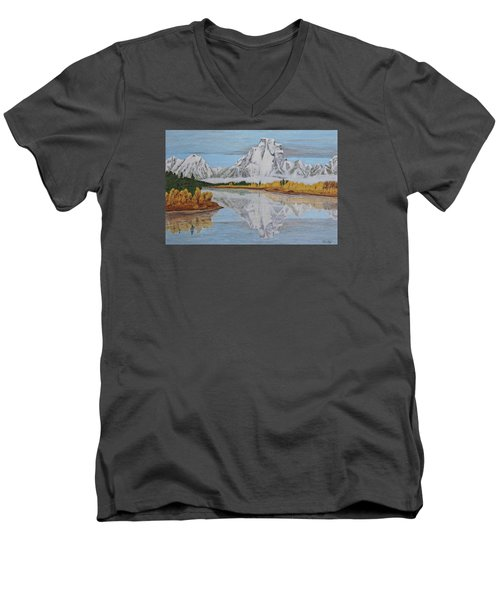 Early Snowfall At Oxbow Men's V-Neck T-Shirt