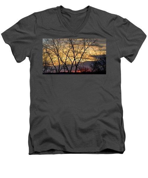 Early Spring Sunrise Men's V-Neck T-Shirt by Randy Scherkenbach