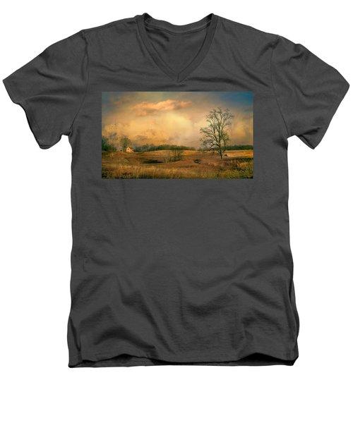 Early Spring Storm Men's V-Neck T-Shirt by John Rivera