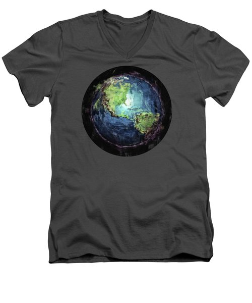 Earth And Space Men's V-Neck T-Shirt by Phil Perkins
