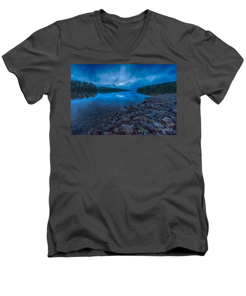 Earth Day Rain At The Tatoe Hole  Men's V-Neck T-Shirt by Robert Loe