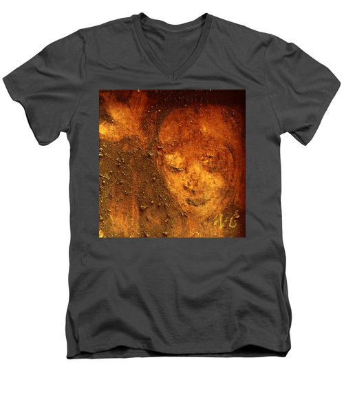 Men's V-Neck T-Shirt featuring the painting Earth Face by Winsome Gunning