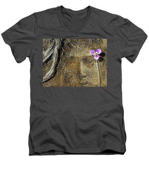 Men's V-Neck T-Shirt featuring the photograph Earth Memories-desert Flower # 1 by Ed Hall
