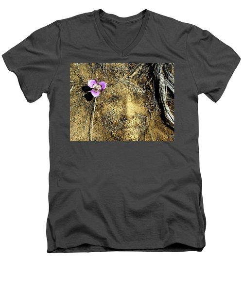 Men's V-Neck T-Shirt featuring the photograph Earth Memories - Desert Flower # 2 by Ed Hall