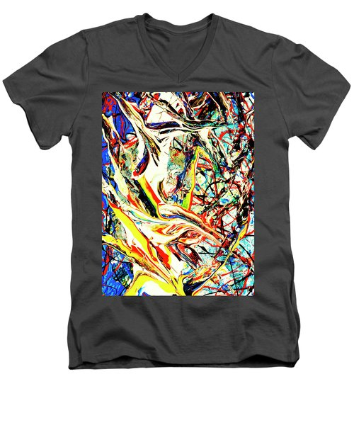 Men's V-Neck T-Shirt featuring the painting Earth Quaked by Elf Evans