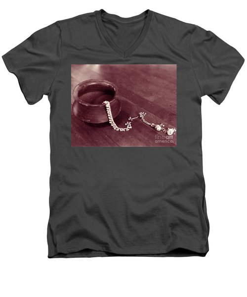 Men's V-Neck T-Shirt featuring the photograph Earthen Pot And Silver by Mukta Gupta