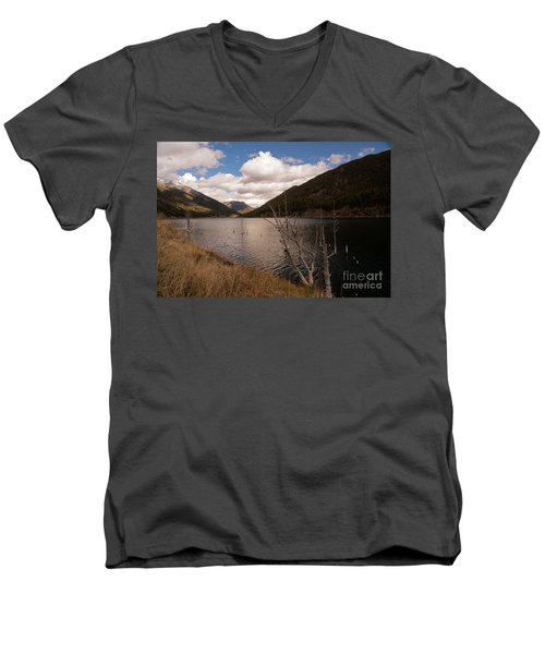 Earthquake Lake Men's V-Neck T-Shirt by Cindy Murphy - NightVisions