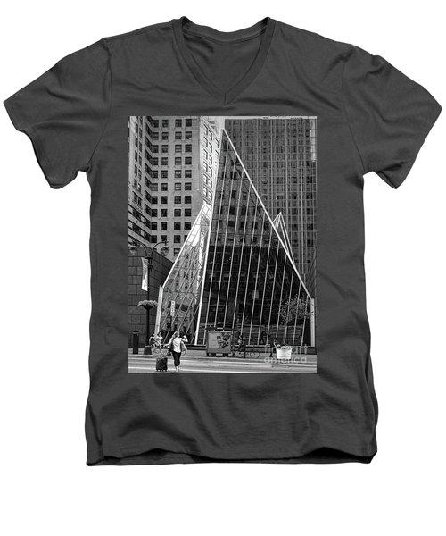 East 42nd Street, New York City  -17663-bw Men's V-Neck T-Shirt by John Bald