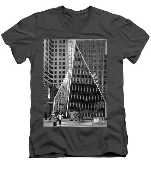 East 42nd Street, New York City  -17663-bw Men's V-Neck T-Shirt