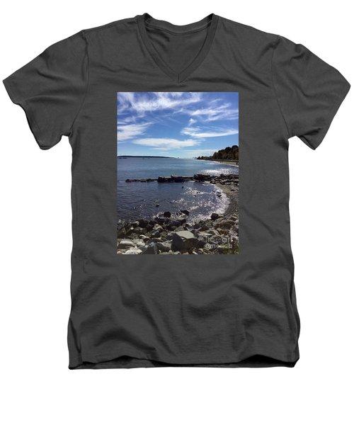 East End Beach Portland, Maine, October 2015 Men's V-Neck T-Shirt by Patricia E Sundik