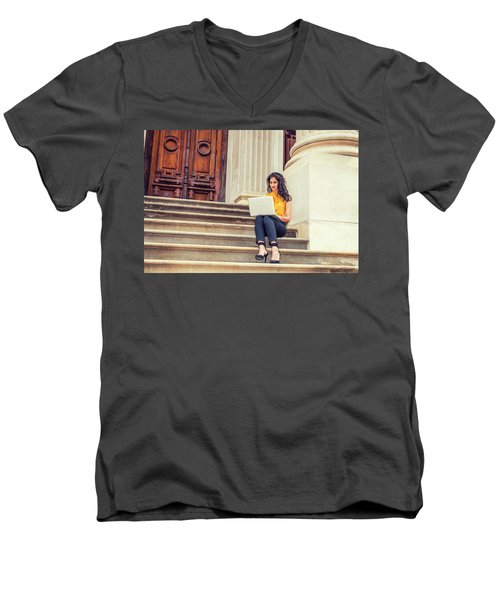 East Indian American College Student Studying In New York Men's V-Neck T-Shirt
