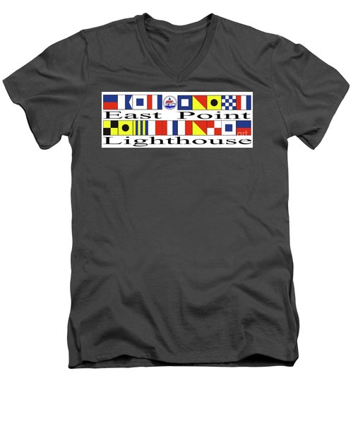 Men's V-Neck T-Shirt featuring the digital art East Point Lighthouse Nautical Flags by Nancy Patterson