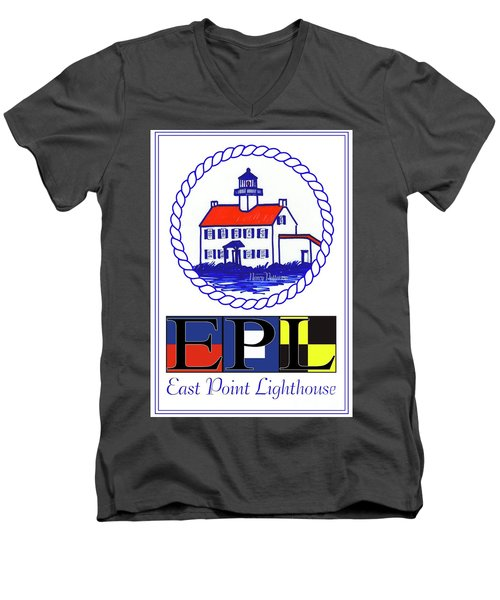 Men's V-Neck T-Shirt featuring the digital art East Point Lighthouse Poster by Nancy Patterson