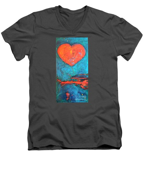 Men's V-Neck T-Shirt featuring the painting East Winds by Diana Bursztein