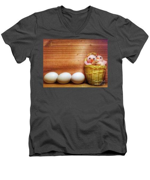 Easter Basket Of Pink Chicks With Eggs Men's V-Neck T-Shirt