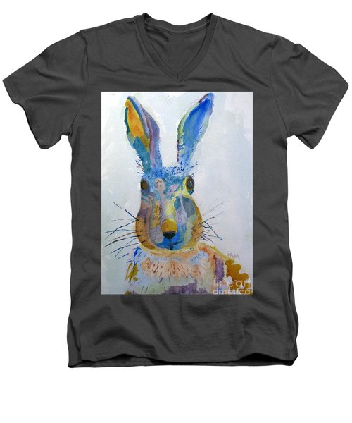 Easter Bunny Men's V-Neck T-Shirt by Sandy McIntire
