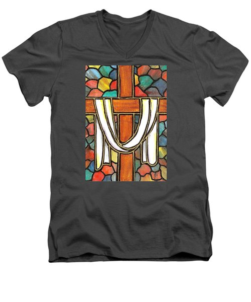 Men's V-Neck T-Shirt featuring the painting Easter Cross 6 by Jim Harris