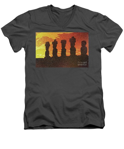 Easter Island Sunset II Men's V-Neck T-Shirt by Ryan Fox