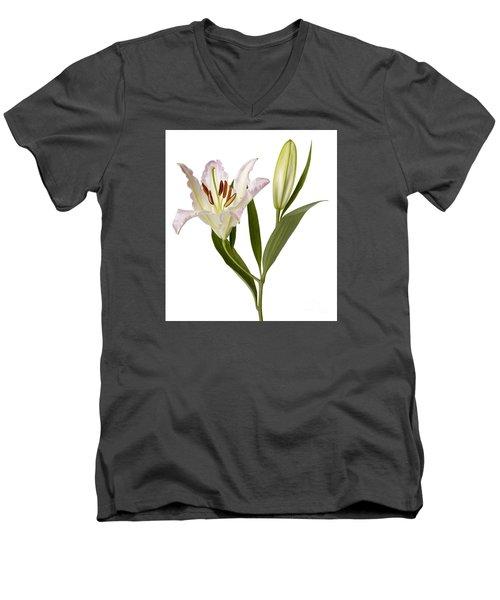Easter Lilly Men's V-Neck T-Shirt by Tony Cordoza