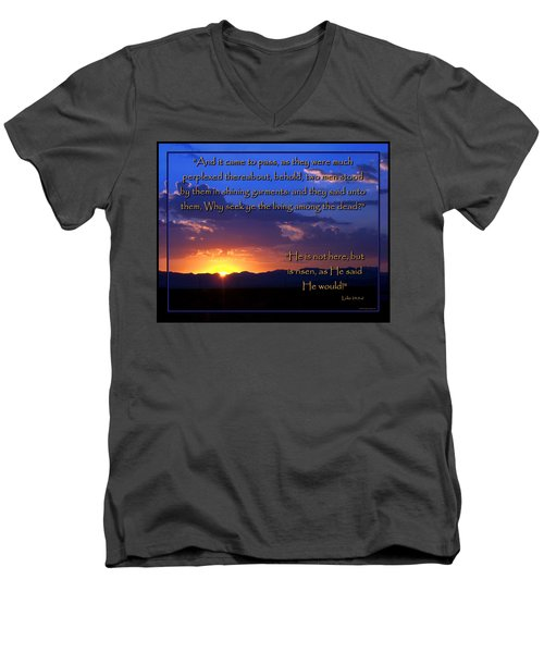Men's V-Neck T-Shirt featuring the photograph Easter Sunrise - He Is Risen by Glenn McCarthy Art and Photography